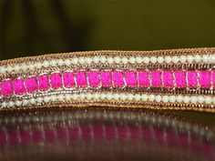 Hot Pink Beaded Pearl Trim and Ribbion, Sari Border Trim, Sewing Supply for Indian Dresses By The Yard