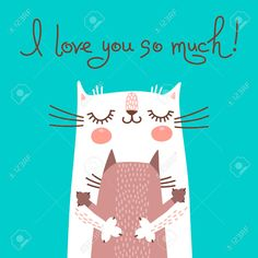 Сладкий карточка День Матери с кошками. Векторная иллюстрация. Клипарты, векторы, и Набор Иллюстраций Без Оплаты Отчислений. Image 36372400.
