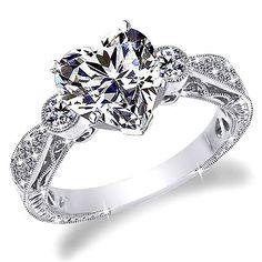 Engagement Rings 1 CT D-E HEART SHAPE ANTIQUE STYLE ENGRAVE DIAMOND ENGAGEMENT RING