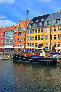 Nyhavn, Copenhagen, Denmark I stayed in a hotel along this water way. Copenhagen is my favorite place!!