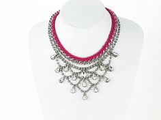 Pink chunky statement necklace bib crystal layers by eBijoux, $15.99