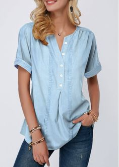 Stylish Tops For Girls, Trendy Tops, Trendy Fashion Tops, Trendy Tops For Women Trendy Tops For Women, Blouses For Women, Women's Blouses, Stylish Tops, Denim Blouse, How To Roll Sleeves, Mode Outfits, Short Sleeve Blouse, Clothes