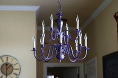 Turn an old, brass chandelier into something colorful and new! by colleen