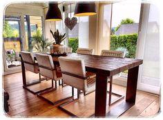 www.wood-design.de, Tisch aus Eiche, Rustikal,  Industriedesign, Industriestahl, Essgruppe