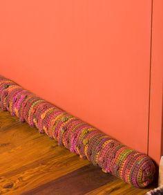 Draft Dodger Free Door Draft Pillow Crochet Pattern from Red Heart Yarn
