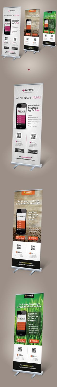 Buy Mobile App Promotion Roll-up Banners by on GraphicRiver. Perfect matching template Mobile App Promotion Roll-up Banners A great-alternative roll-up banner template ide. Pull Up Banner Design, Standing Banner Design, Roll Up Design, Pop Up Banner, Web Banner, Letterhead Template, Brochure Template, Signage Design, Brochure Design