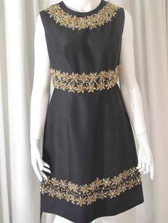 1960 s Black crystal beaded vintage cocktail dress
