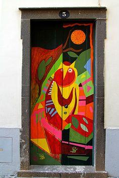 ₪portas - The painted doors of Old Funchal, Madeira Funchal, Cool Doors, Unique Doors, Entrance Doors, Doorway, Doors Galore, Door Gate, Painted Doors, Door Knockers