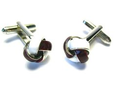 Maroon & White Two Tone Enamel Love Knot Cufflinks - Wedding Cufflinks - Cufflinks