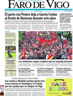 Los Titulares y Portadas de Noticias Destacadas Españolas del 2 de Mayo de 2013 del Diario Faro de Vigo ¿Que le parecio esta Portada de este Diario Español?