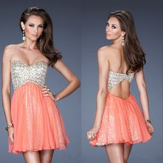 salmon prom dress | Cute Outfits and Shoes | Pinterest | Searches ...