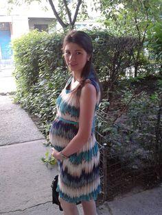Wearing a Jolie Maman dress