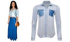 Camisas jeans + saia