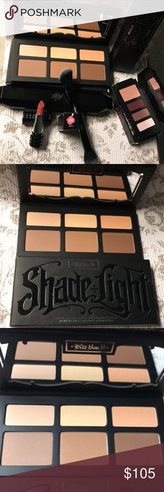 🖤Kat Von D Bundle🖤 🖤Kat Von D Bundle🖤 Shade & Light Contour Palette, Shade & Light Eyeshadow Quad in Plum, Shade & Light Contour Brush with Case & Studded Kiss Lipstick in Magick. All New. Never used or swatched. Only taken out for pics. Bundle 2 & save 10%! Make me an offer!!  ✨Bundle your Likes!!  ✨Open to Offers!! Kat Von D Makeup