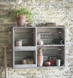 Spruce Wood Apple Crate Style Wall Storage Unit