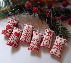 Miniature Cross Stitch Folk Art Christmas Ornaments. $18.50, via Etsy.