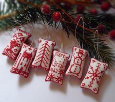 Miniature Cross Stitch Folk Art Christmas Ornaments. $18.50, via Etsy.