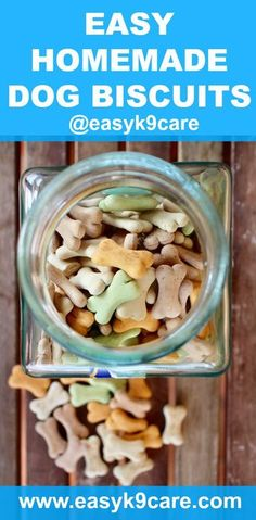 Easy Homemade Dog Biscuits | Do you ever worry about all the potentially unhealthy ingredients in your dog's treats? Why not make your own homemade dog biscuits? Try this recipe: