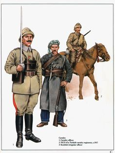 Ottoman Cavalry 1914-18:  1: Cavalry officer;  2: NCO of a Turkish cavalry regiment, c.1917;  3: Kurdish irregular officer