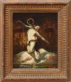 A Pompéi de Gustave Boulanger (1824-1888), huile sur carton, 27,3 x 21,6 cm (œuvre seule) et 38,1 x 32,4 cm (avec le cadre), collection particulière.