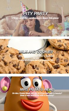 Pity Party - Milk and Cookies - Mrs. Potato Head