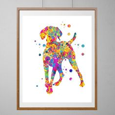 Hungarian Vizsla dog Print yellow version. Dog Art, Wall Art watercolor gift, Vertical Poster Home Decor, Vizsla Magyar Dog illustration. Giclee print from original watercolor. Sizes: 8x10, 12x16, 16x