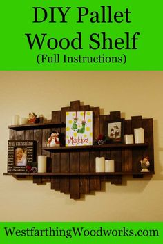 DIY Pallet Wood Shelf Tutorial. This is an easy pallet wood project, and looks great on the wall.