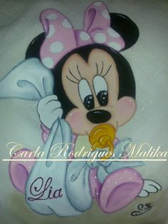 Fraldinha Minnie Baby, Mickey Minnie Mouse, Tole Painting, Fabric Painting, Baby Disney Characters, Brother Innovis, Nursery Paintings, Baby Drawing, Knitted Flowers