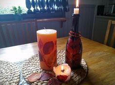self made candle decoration using aronia leaves , crafts, home decor, hvac, seasonal holiday decor