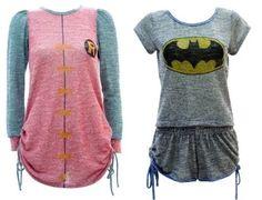 Pijamas inspirados nos personagens da DC Comics - Batman Clothing - Ideas of Batman Clothing - Batman Robin pajamas. Pyjamas, Batman Workout, Moda Geek, Geek Fashion, Womens Fashion, Womens Pjs, Geek Girls, Ideias Fashion, Style Me