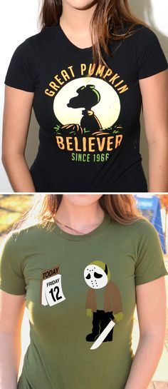 """This epic shirt is back by popular demand.  """"Great Pumpkin Believer"""" halloween t-shirt.  Want something funnier for Halloween?  Make the """"Friday the 12th"""" shirt yours!  SnorgTees makes super soft, comfy tees and hoodies for men, women and kids. Discover your favorite shirt today!"""