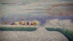 """Última pieza del año - Un atardecer en la tranquilidad del interior. """"a sunset in a quiet place"""". Tecnica: tizas pastel con grafito.  #drawning #art #experimental #sunset #landscape #shalk"""