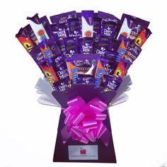 Cadbury Chocolate Bars, Sweet Hampers, Chocolate Hampers, Sweet Box, Candy Crafts, Chocolate Bouquet, How To Make Chocolate, Make And Sell, Homemade Gifts