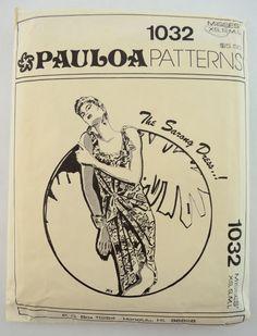 Pauloa Pattern 1032 Sewing Pattern from Honolulu HI 1980's, CUT (Large), Sz: Misses XS-L, Sarong Dress