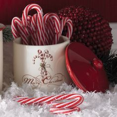 Ceramic Merry Christmas Canister with Candy Canes