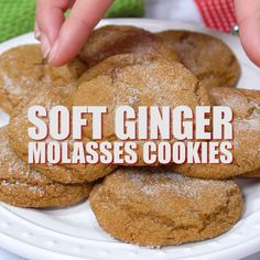 These big, soft ginger molasses cookies will literally melt in your mouth. These are my favorite Christmas cookies and I make them year after year. Baking Recipes, Cookie Recipes, Dessert Recipes, Soft Food Recipes, Cheap Recipes, Food Tips, Cooking Tips, Dinner Recipes, Healthy Recipes