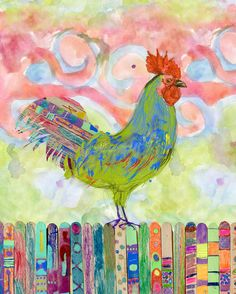 The Rooster - mixed media illustration