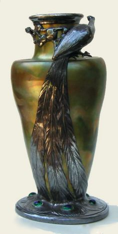 Zsolnay ceramic vase with peacock pewter mount by Orivit.