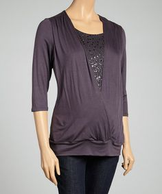 Look at this #zulilyfind! Charcoal Sequin Maternity Surplice Top - Women by Three Seasons Maternity #zulilyfinds