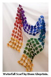 waterfall scarf ~ made with water soluble stabilizer, silk squares and thread.