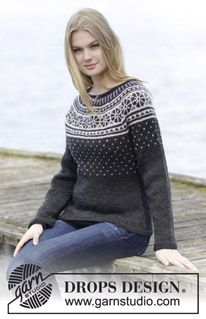 "Starry Night Jumper - Knitted DROPS jumper with round yoke and Nordic pattern, worked top down in ""Karisma"". Size: S - XXXL. - Free pattern by DROPS Design Free Knitting Patterns For Women, Sweater Knitting Patterns, Knit Patterns, Knit Poncho, Drops Design, Jumper, Punto Fair Isle, Icelandic Sweaters, Fair Isle Pattern"
