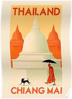 Thailand Chiang Mai Thai Asia Asian Vintage Travel Advertisement Art Poster in Collectibles, Cultures & Ethnicities, Asian, Thai & Siamese Chiang Mai, Chaing Mai Thailand, Retro Poster, Poster S, Poster Prints, Retro Print, Art Posters, Art Print, Party Vintage