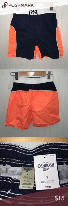 "OSHKOSH BOYS SWIM TRUNKS ☀️☀️Oshkosh Boys Swim Shorts/Trunks. ☀️ Summer is here ☀️  Length: 13 1/2"" Elastic waistband   DON'T FORGET TO BUNDLE 😊  Offers are welcomed. I negotiate. Ask any questions before purchasing. Osh Kosh Swim Swim Trunks"