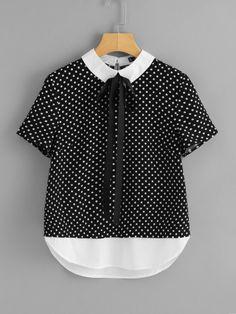Contrast Tie Neck And Hem Polka Dot Top -SheIn(Sheinside)