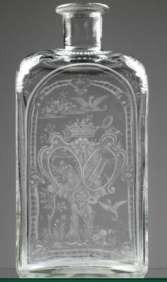 """Spirits bottle decorated with the coat-of-arms """"Clotilde"""" glass, colourless, four-sided body with finely cut pearl border, corners with foliate rocailles. Bohemia around 1800 Altered Bottles, Antique Bottles, Vintage Bottles, Bottles And Jars, Antique Glass, Glass Bottles, Perfume Bottles, Cut Glass, Glass Art"""