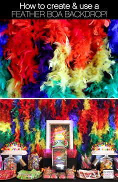 How to Create and Use Feather Boa Backdrops! Carnival Themed Party, Rio Carnival, Carnival Birthday Parties, Carnival Themes, Party Themes, Rio Party, Homecoming Decorations, Dance Themes, Baby Girl Birthday