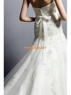 Strapless Trumpet Lace Applique Tulle Couture Bridal Dress 2013