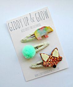 Woodland Hair Clips Fox and Bear hair clips by giddyupandgrow