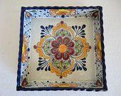 Lead Free Square Talavera Ceramic Snack Tray - Multicolor