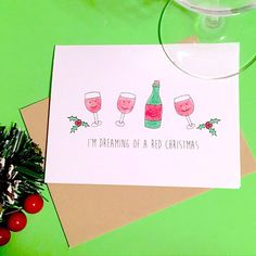 Wine Christmas Card Funny Christmas Card Funny Holiday